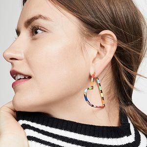 BaubleBar Rainbow Heart Hoop Earrings